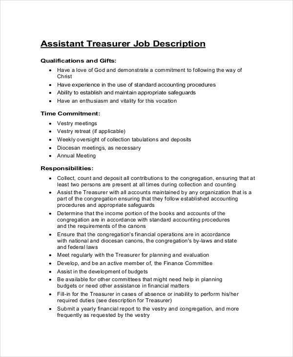 assistant treasurer job description stpaulhopkintonorg - Job Description Treasury Manager