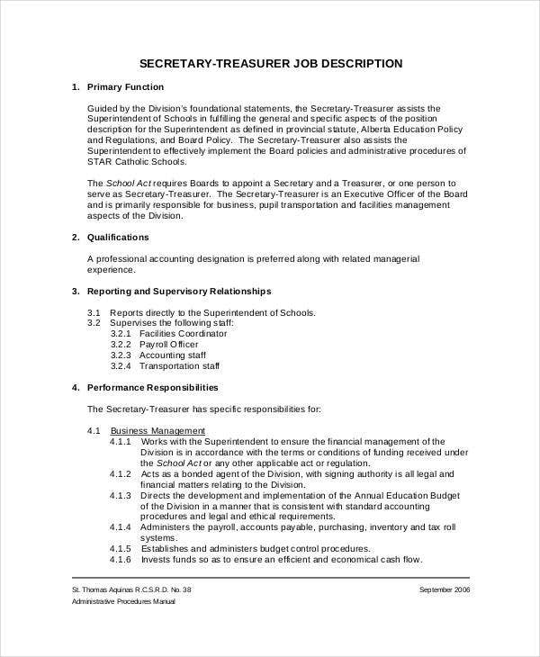 Payroll officer job description give this staff accountant resume treasurer job description templates 9 free pdf format download pronofoot35fo Choice Image