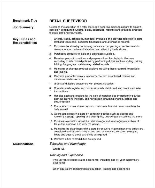 supervisor retail job description