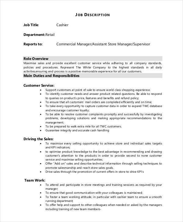 cashier retail job description