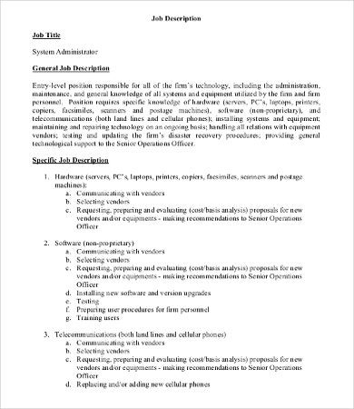 Administrator Job Description Templates   Free Word Pdf Format