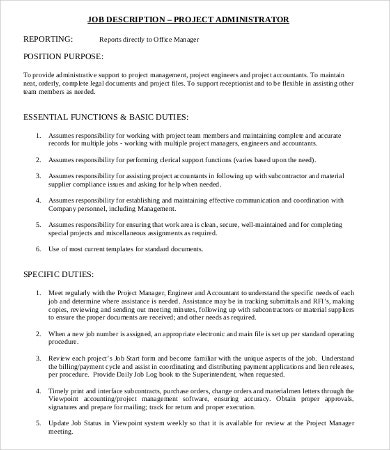 Administrator Job Description Templates - 9+ Free Word, Pdf Format