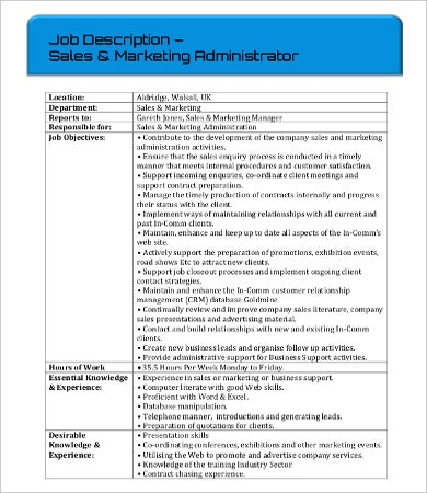 sales administrator job description1