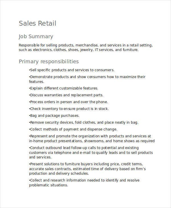 sales retail job description