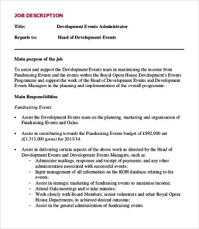 Events Administrator Job Description