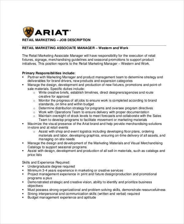 retail marketing assosciate manager job description. Resume Example. Resume CV Cover Letter