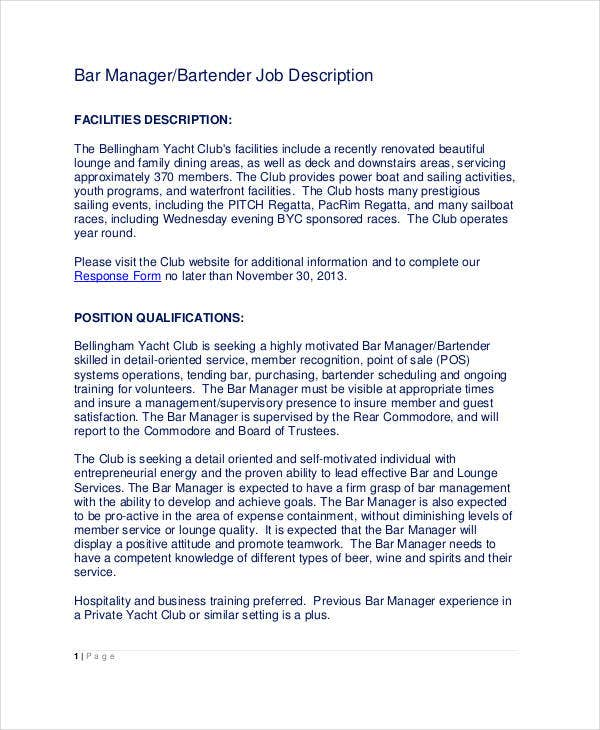 Beautiful Bartender Manager Job Description Template  Bartender Description
