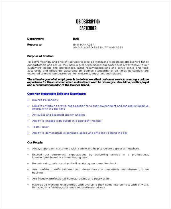 Free Supervisor Job Description Template  Bartender Description