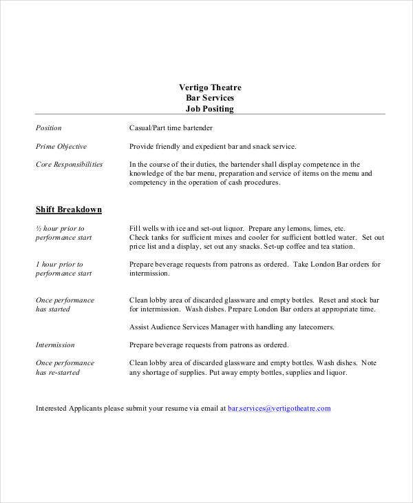 Bartender Job Description 10 Bartender Job Description Templates  Pdf Doc  Free .