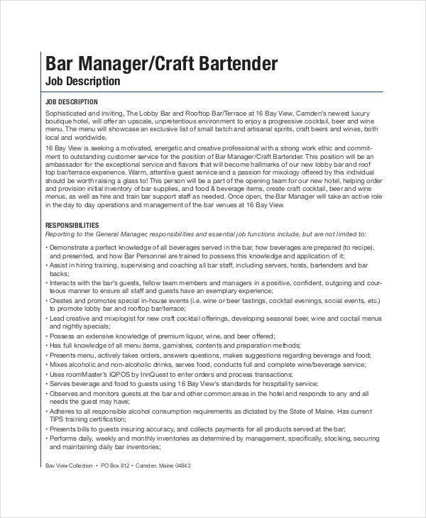 general bartender job description
