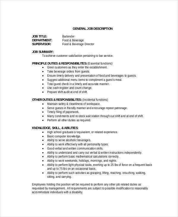 parttime bartender job description