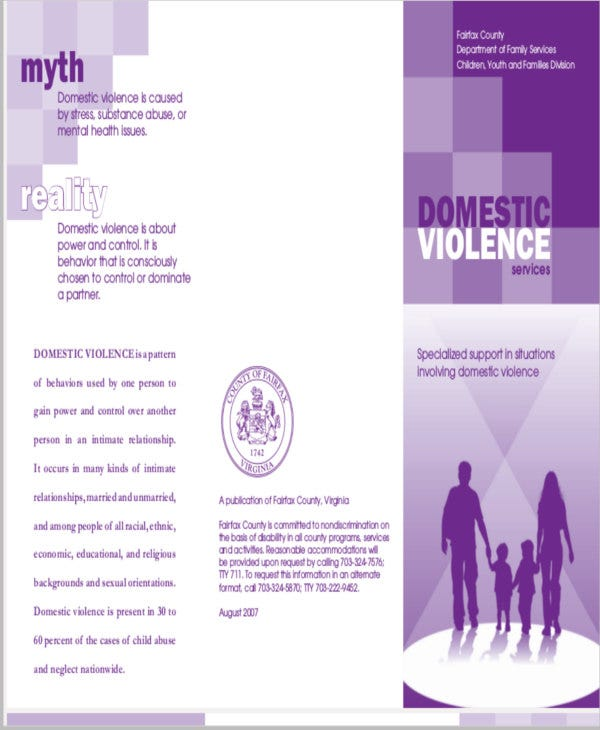 Domestic Violence Brochure  Free  Premium Templates