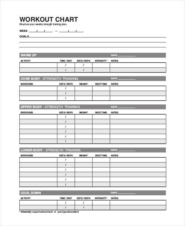 Weight Lifting Workout Chart Template