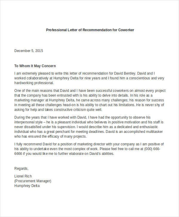 Professional Letter Of Recommendation For Coworker.  Coverlettersandresume.com. Details. File Format  Free Sample Professional Letter Of Recommendation