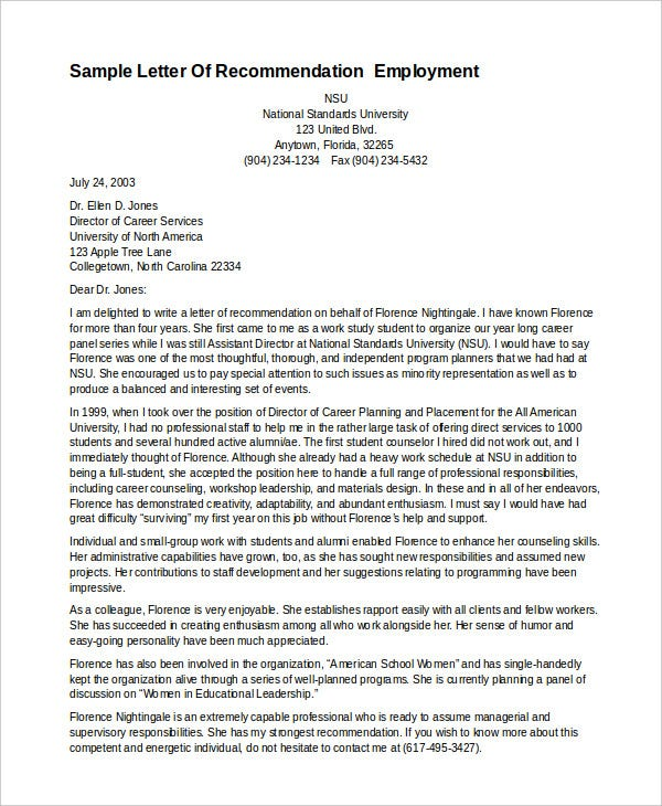 Professional Letter Of Recommendation  Free Pdf Word Format
