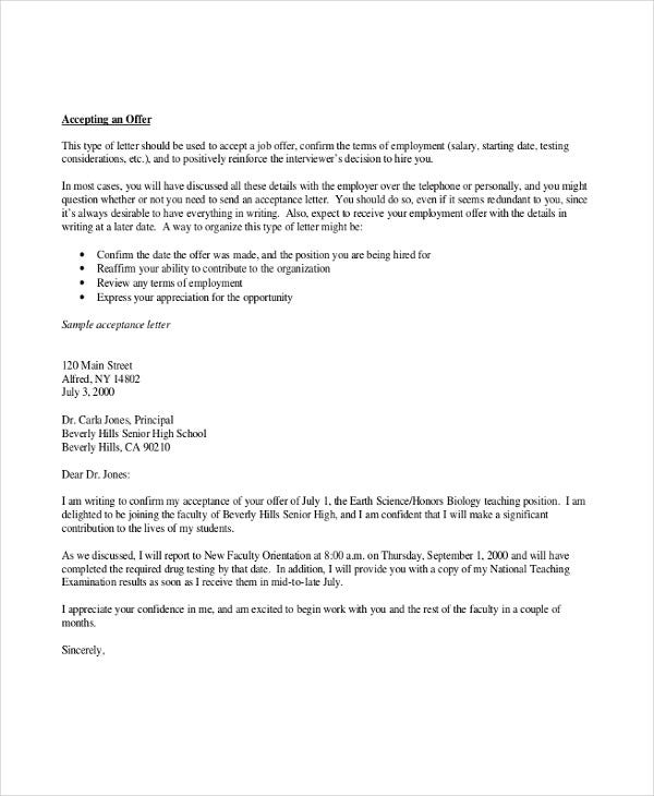 thank you letter for job offer 4 thank you letter for offer templates free 1650