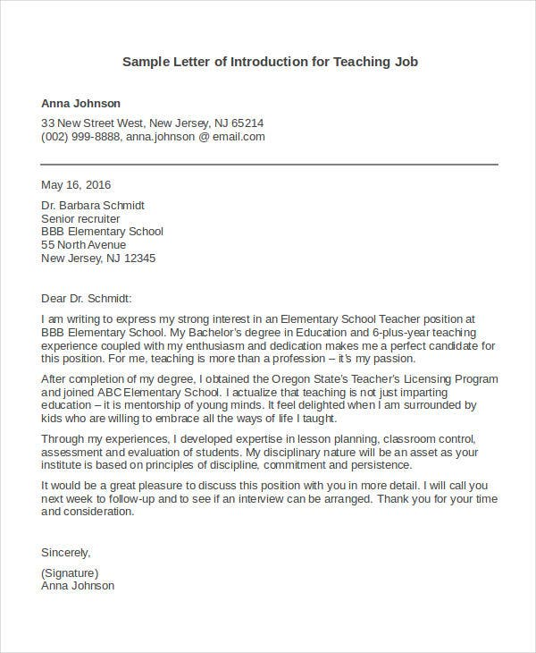 letter of introduction for teaching job - Job Letter Of Introduction