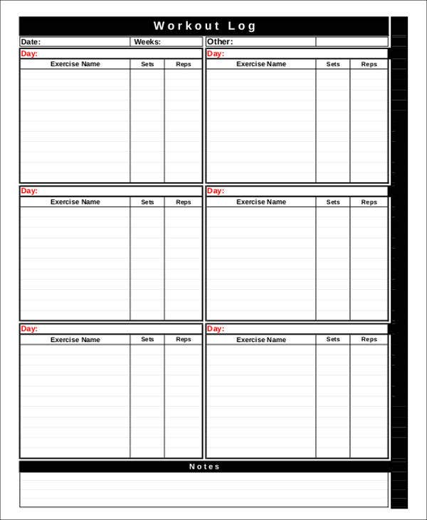 Workout Chart Templates   Free Word Excel Pdf Documents