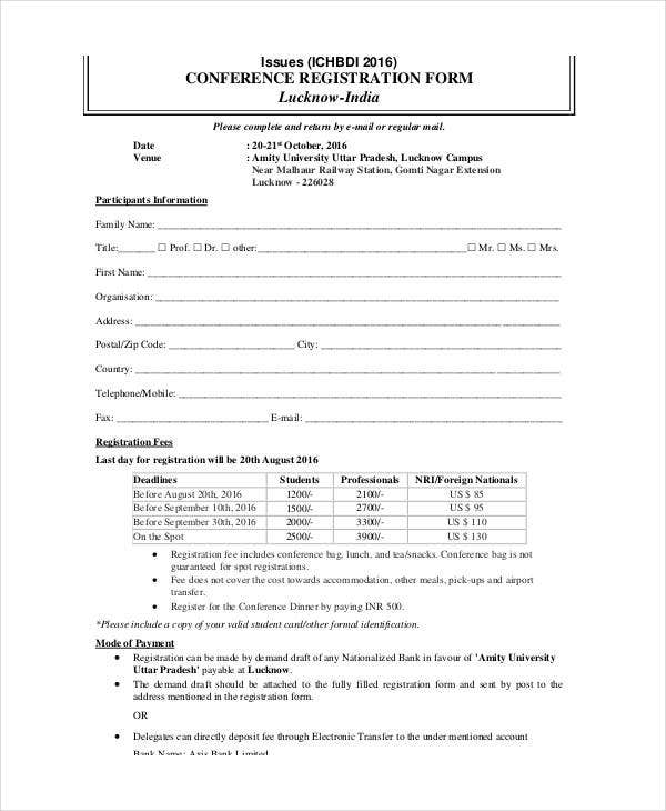PrintableConferenceRegistrationFormTemplatejpg – Student Registration Form Template