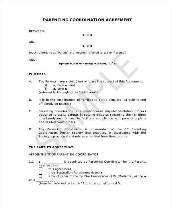 Parenting Agreement Templates   Free Pdf Documents Download