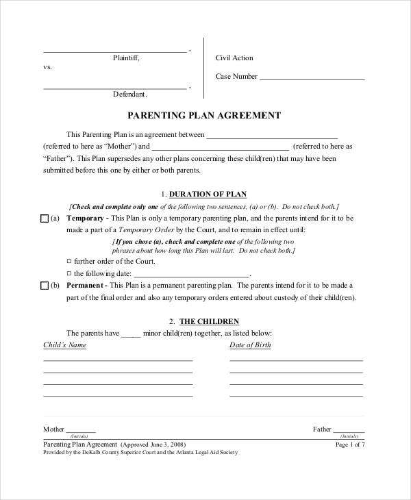 Parenting Agreement Templates 8 Free PDF Documents Download – Parenting Plan Template