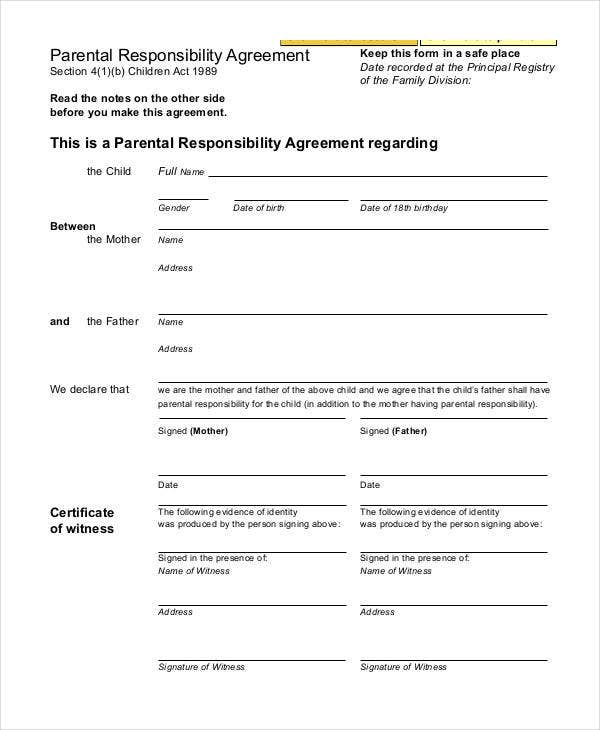 parenting agreement templates 8 free pdf documents download free premium templates. Black Bedroom Furniture Sets. Home Design Ideas