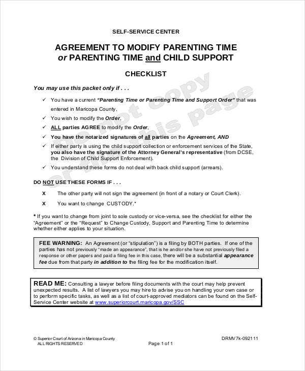 parenting agreement templates 8 free pdf documents download