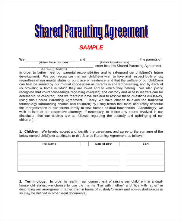 Parenting Agreement Templates - 8+ Free PDF Documents Download ...