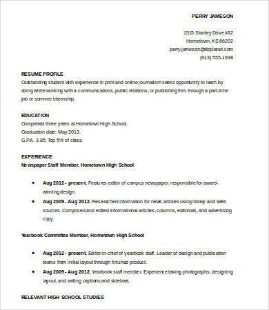 High School Student Resume