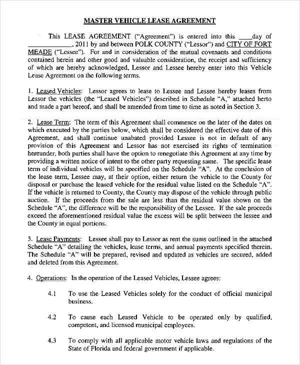 hire purchase agreement forms for motor vehicles pdf  Vehicle Lease Agreement - 9  Free PDF Documents Download | Free ...