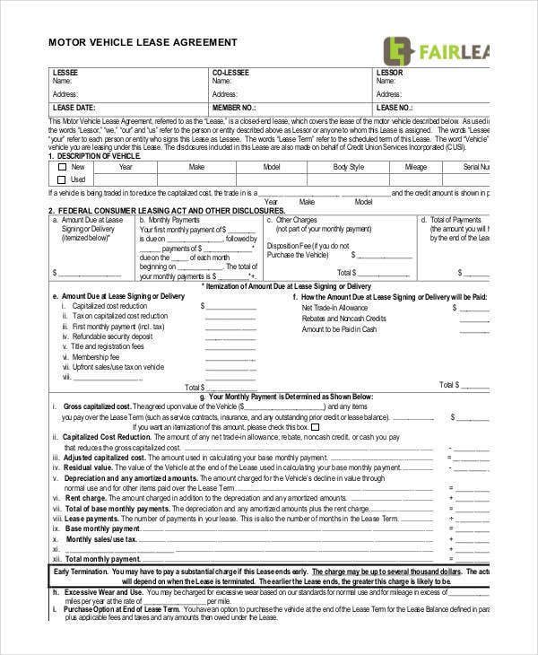 Motor Vehicle Lease Agreement Template  Lease Document Template