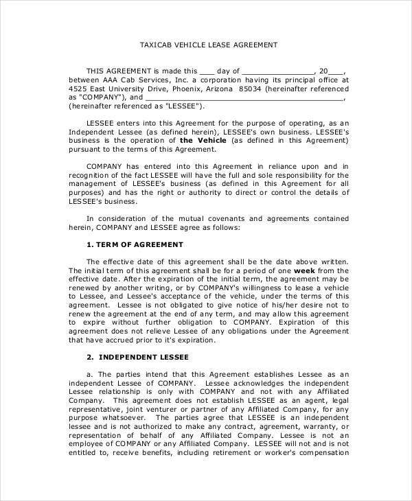 Vehicle Lease Agreement   Free Pdf Documents Download  Free