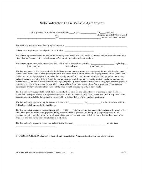 Vehicle Lease Agreement - 9+ Free Pdf Documents Download | Free