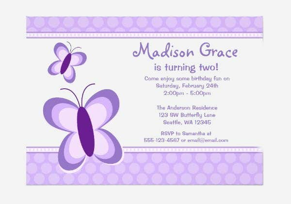 Purple Butterfly Invitation Template