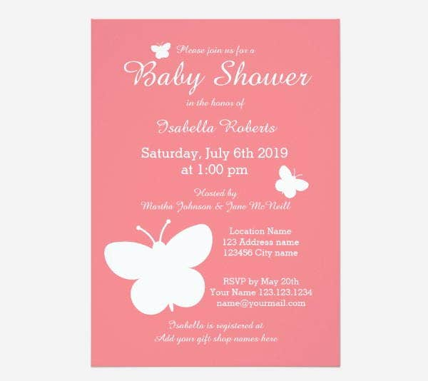coral butterfly baby shower invitation template