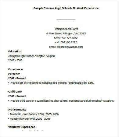 high school resume no work experience