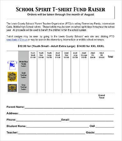 school t shirt order form
