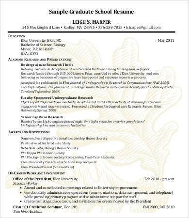 High School Graduate Resume