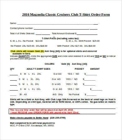 club t shirt order form