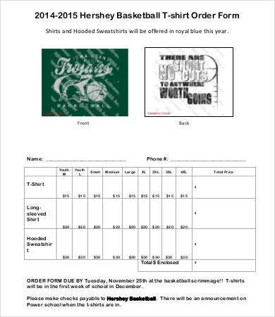 basketball t shirt order form template