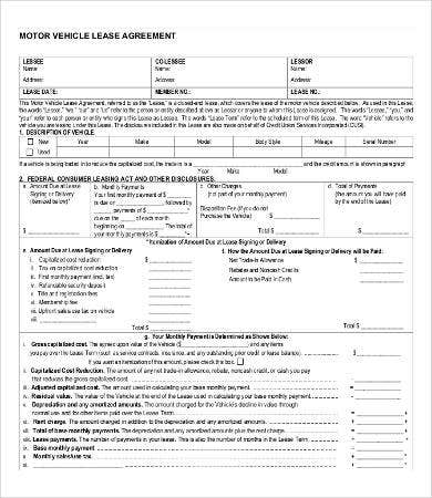 Car Lease Agreement Form