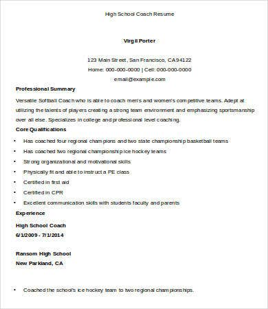 High School Coach Resume