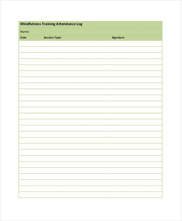 training attendance log template