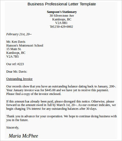 business professional letter template