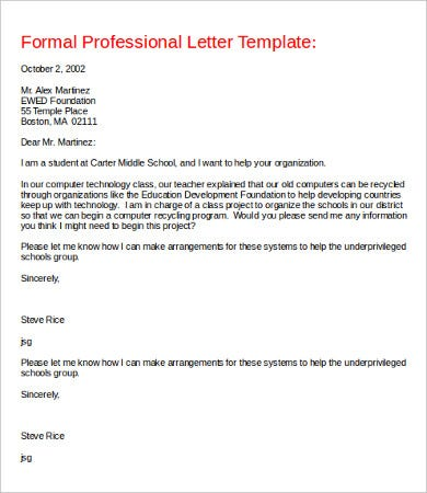 formal professional letter template