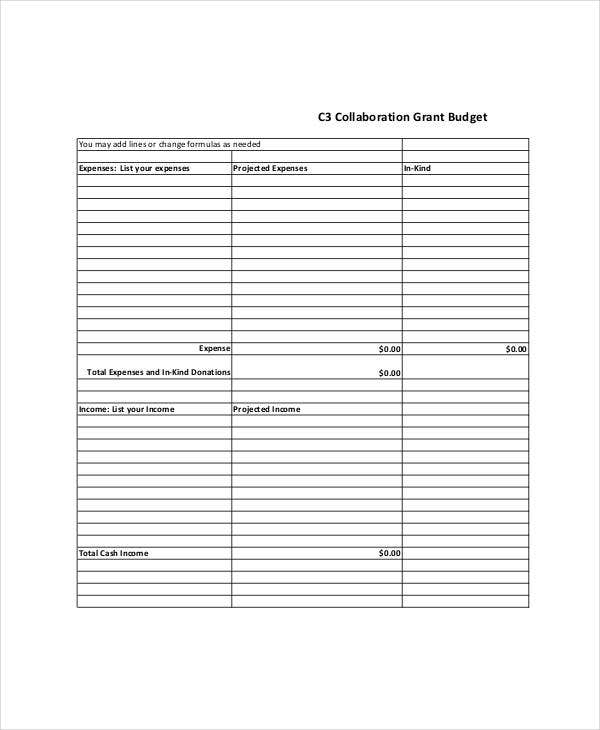 collaboration grant budget template
