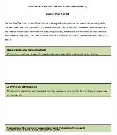 lesson plan format template word