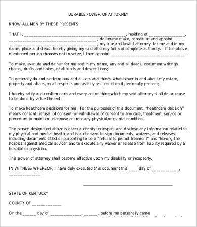 Power Of Attorney Form Free Printable - 9+ Free Word, Pdf