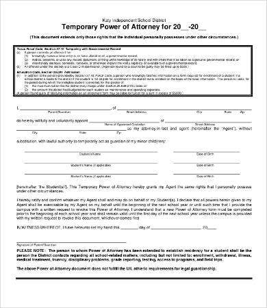 temporary power of attorney form printable