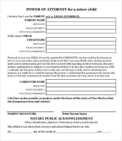 child power of attorney form printable